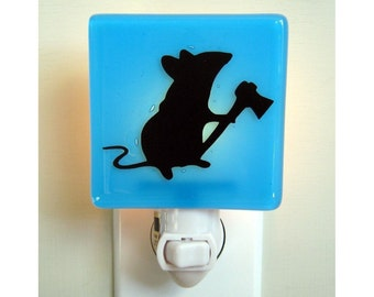 Funny Mouse Night Light - Hand Painted Glass Nightlight - Funny Gift