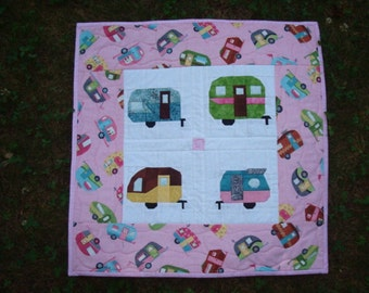 Camper Trailer Quilted Wallhanging Retro