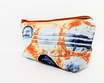 Medium Pouch, Zipper Pouch, Cosmetic Pouch, Pencil Case, Fabric Pouch, Pouch, Laura Gunn Pouch, Coin Purse, Watercolor Blue Dots on Rust