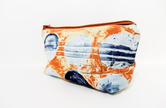 Medium Pouch, Zipper Pouch, Cosmetic Pouch, Pencil Case, Fabric Pouch, Pouch, Laura Gunn Pouch, Coin Purse, Watercolor Blue Dots on Rust