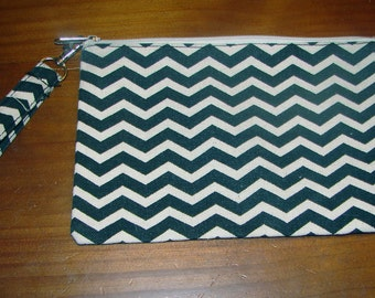 Small Black and Cream Zig Zag Cotton Clutch - Screen Print, Paint, DIY