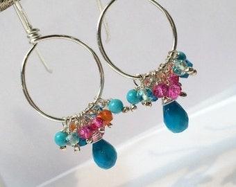 SUMMER SALE Turquoise Hoop Earring Silver Hoop Earring Multicolor Gemstone Hoop Chandelier Colorful Boho Hoop Beaded Silver Hoop Doolittleje