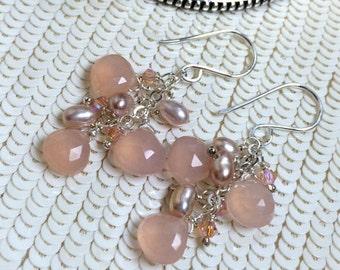 SUMMER SALE Peach Dangle Earrings Wire Wrap Peach Pink Chalcedony Sterling Silver Jewelry Handmade Dangle Earrings Pearls Crystals