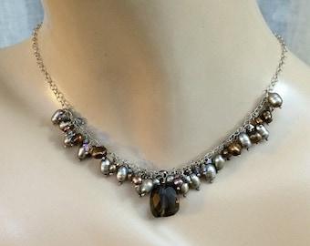 60% FLASH SALE Smokey Quartz Necklace Brass Fan Pearl Crystal Cluster Dangle Geometric Dangle Necklace