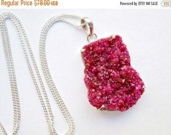 50% SALE Druzy Crystal Necklace Long Druzy Cluster Hot Pink Raspberry Ruby Druzy  Necklace Mineral Jewelry