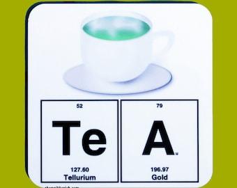 Tea Chemistry Emoji Coaster - Science, Periodic Table of Elements - Hot Tea - Drinkware, Barware, Bar Cart, Emoji