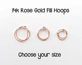 Little Hoop Earrings. 14K Rose Gold Filled Huggie Earrings. Choose your Size / gauge! Pink Gold Huggies