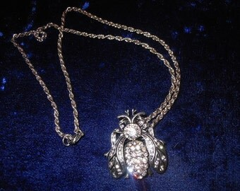 Rhinestone Fly Insect Necklace