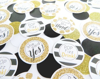 Black and White Party Decorations, Bridal Shower Decorations, Bridal Shower Table CONFETTI, Kate Spade Inspired Bridal Shower, Customized