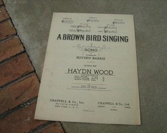 1937  vintage sheet music ( A Brown Bird singing )