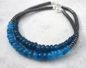 Apatite hematite stacking bracelet, beaded gemstone bracelet, blue grey gemstone bracelet, beadwork shiny metallic bracelet, modern jewelry