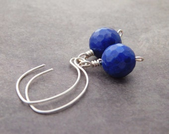 Dark Blue Agate Earrings, Blue Earrings, Long Earrings, Silver Earrings, Navy Blue Earrings, Agate Silver Earrings, Jewelry Earrings, Blue