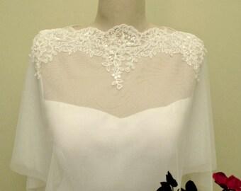 Wedding Tulle Cape, Ivory Bridal Bolero, Lace Bridal Cape, Wedding Tulle Shrug,  Wedding Wrap, Bridal Capelet, Wedding Tulle Wrap