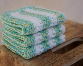 Wash Cloths, Dish Cloths, Cotton -  Stripes of Light Blue, Yellow, and White - Crocheted 3 Piece Set