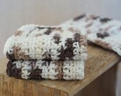 Crochet Washcloths, Dishcloths, Cotton -  Cookie Dough - Brown, Tan, White Crocheted 3 Piece Set