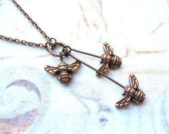 Bee Charmer - Three Honey Bees and Copper Chain Handmade Necklace - Gift Box