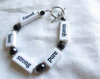 Encouraging Words Black and White Bracelet
