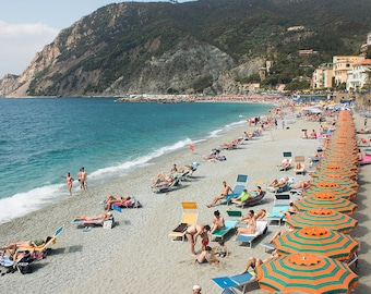 Italy Photography, Beach days in Cinque Terre, Monterosso, Italy, beach photography, Italian home decor, blue umbrellas, summer in italy