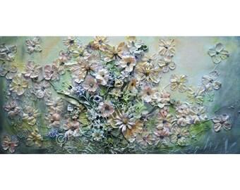 ORIGINAL Floral Painting Art Deco FLOWERS BOUQUET Unique Collage Artwork by Luiza Vizoli ready to ship