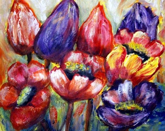 SALE Tulips Poppies Painting Original Flowers Art on Canvas Palette Impasto Poppies,Tulips,Spring Floral Art by Luiza Vizoli