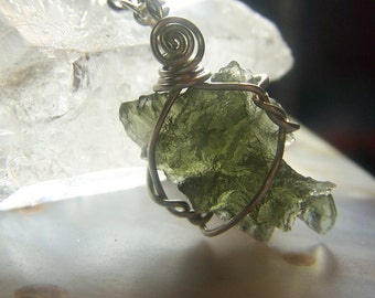 Moldavite crystal necklace pendant Besednice AAA high quality - Sterling Silver wire wrap small green stone specimen genuine - Czech ndn2