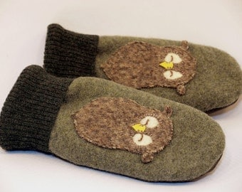 Owl Sweater Mittens Felted Wool Moss Green and Brown Owl Applique Fleece Lining Leather Palm Eco Friendly  Size S/M