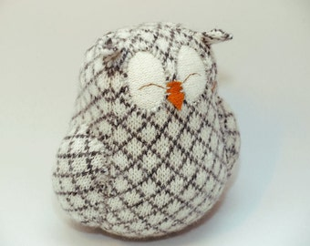 """Owl Recycled Sleepy Owl Natural  White and Grey Felted Wool Lamb Wool Stuffing Eco Friendly Home Decor Ornament Height 7"""""""