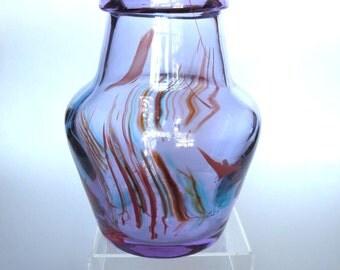 Fostoria Glass Interpretations Art Glass Vase Lavender Purple with Multi-color Swirls Rare Find