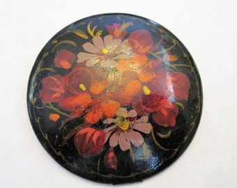 1940s Hand Painted Floral Brooch