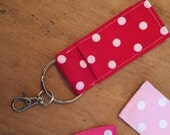 5 Chapstick Holders, Lip Balm Holders, Chapstick Keychains, polka dots