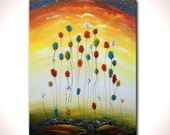 original painting lollipop tree art acrylic abstract painting landscape wall art colorful acrylic 22 x 28