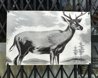 Vintage Archery Shooting Target of A Deer