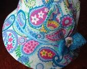 Baby Girl Bonnet, Blue Baby Bonnet, Spring Bonnet, Paisley Print Bonnet, Large Baby Bonnet, Baby Sun Bonnet, Cotton Baby Bonnet