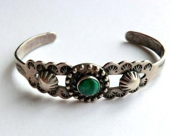 Vintage Turquoise Sterling Cuff Bracelet Stamped Designs Boho Tribal Southwest