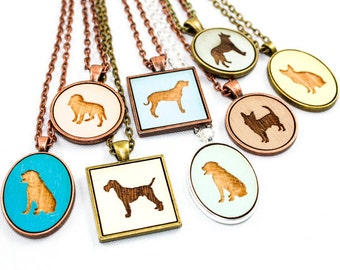 Custom Dog Pendant Necklace - Choose Your Design (Any Breed / Color) - Made to Order