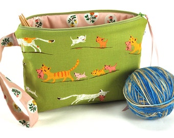 Knitting Crochet Project Bag Clutch - Tiger Lily