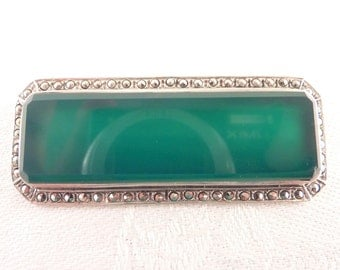 SALE --- Vintage Deco Style Long Green Onyx Sterling and Marcasite Brooch