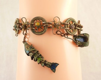 Antique Chinese Brass Enamel Charm Bracelet