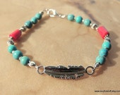 Feather Bracelet, Turquoise Jewelry, Native Style Jewelry, Tribal Jewelry, Boho Jewelry, Handcrafted Jewelry, Turquoise and Red