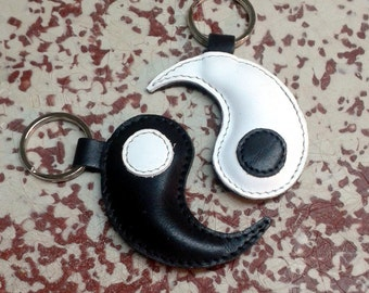 Yin Yang Leather Keychains For Couples - Set Of Two - FREE Shipping Worldwide - Couple Leather Keyring - Anniversary Gift