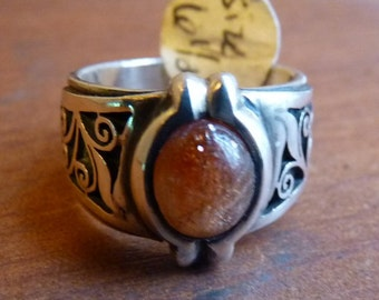 Sterling band with sunstone and jali cut detail