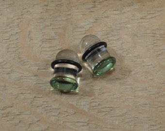 Glass plugs 0g green and clear glass plugs 0 gauge