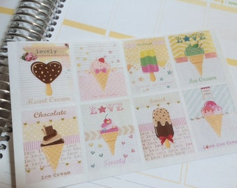 Ice Cream Stickers, 8 Full Box Stickers, Perfect For The Erin Condren Planner, Stickers