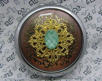 compact mirror with protective pouch - Green Shimmer - unique gifts for bridesmaids, maid of honor, mother of bride - gift under 20