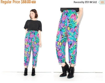 OMG HALF OFF Vibrant 80s Floral Pants size small medium large // vintage 1980s tropical floral print harem pants