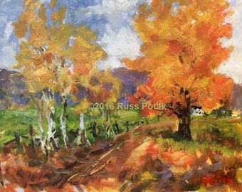 Road to homestead, Autumn landscape painting, fall scenic art, orange and red with green farm road, Russ Potak