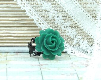 Green Rose Ring Emerald Green Ring Victorian Ring Green Flower Ring Adjustable Ring Winter Ring