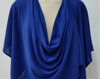 Women clothing, multiway shrug, 7 in 1, textured knit, blue, one size