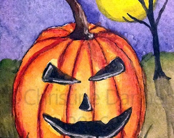 Original Art Halloween Jack-o-Lantern Pumpkin ACEO Painting