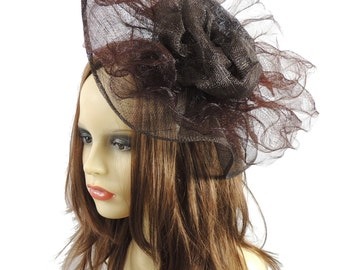 Chocolate Brown Golden Down Fascinator Hat for Kentucky Derby, Weddings and Christmas Parties on a Headband